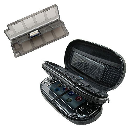 Khanka All-in-one Double Compartment Carry Travel Case Bag + Gray Game/Memory Card hard Case For Psvita PS Vita 1000 and PSVita Slim (PSV 2000), fits Charger cable/Game Cards (Vita Ps Case 2001)