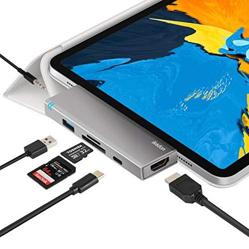 USB C Hub for iPad Pro 2018, IKEDON 6-in-1 USB C Hub Adapter with USB C PD Charging, 4K HDMI Converter, USB 3.0, 3.5mm Headphone Jack, SD/TF Card Reader (SpaceGray)