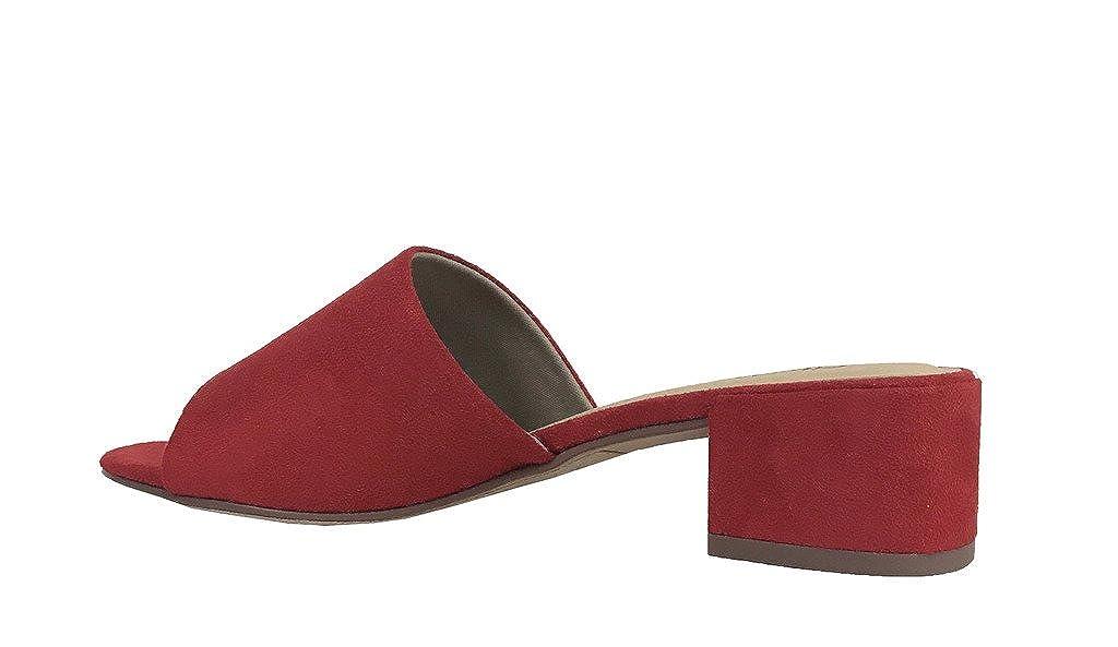 Red Faux Suede 6.5 M US City Classified Watson Womenn Open Toe Chunky Heel Slide Sandals