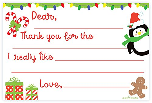 Christmas Child Fill In Thank You Notecards (Non Folding) With Envelopes (20 Count)