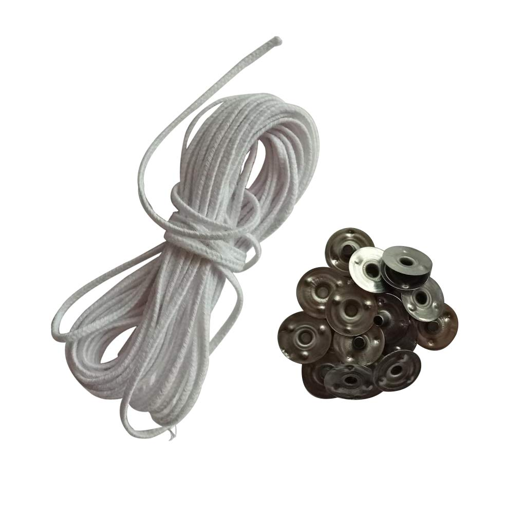 Baoblaze 5m Cotton Candle Wicks Core with 20x Metal Sustainers Tabs Holder Base for Candle Making Craft Handmade Candle Wick