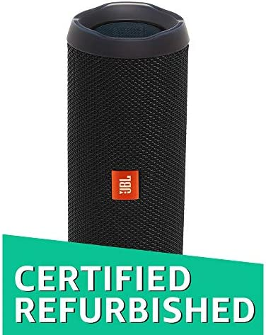 JBL Flip 4 Portable Waterproof Bluetooth Speaker Factory Renewed, Black