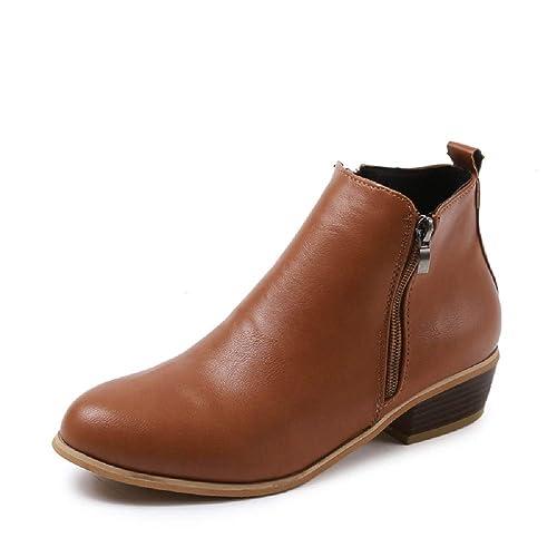 Botines Mujer Invierno Tacon Botas Piel Medio Tacon Ancho Ante Botita 3cm Casual Tobillo Ankle Boots Suede Zapatos Marrón Azul Negros 35-43: Amazon.es: ...