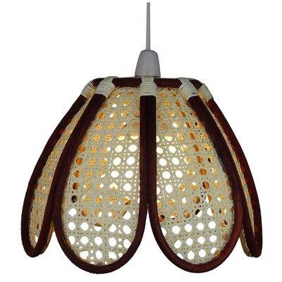 Lighting Web Company - Paralume a cupola, a forma di tulipano, in bambù , con pannelli naturali e aste marroni in bambù Loxton Lighting C44