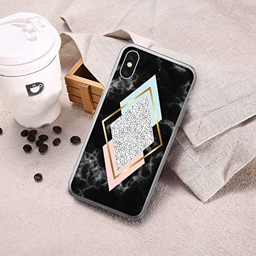 Buildent - Carcasa de Silicona Suave para iPhone X XS MAX XR de Lujo geométrica de mármol para iPhone 6, 6S, 7, 8 Plus, 5,...