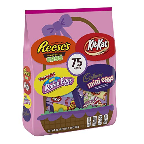 HERSHEY's Easter Chocolate Candy Assortment, 75 count, REESE'S Eggs CADBURY Eggs, WHOPPERS Eggs, Kit Kat Miniatures, 75 Count ()