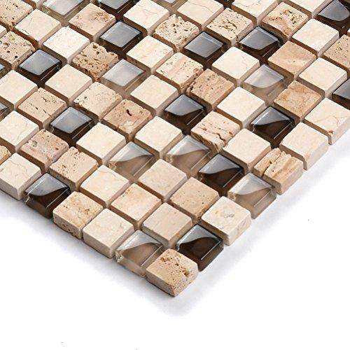 Glass Mosaic Tile with Marble Travertine Kitchen Backsplash Bath Shower Wall Beige Brown Mix Artistic Elegant Luxurious Modern Aesthetic Tile (1 Sample 12''x12'')