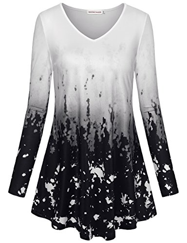 MOOSUNGEEK Tunic Blouses, Business Casual Clothes Tie Dye Ombre A Line Flare Tops Shirts Black (Tie Dye A-line)