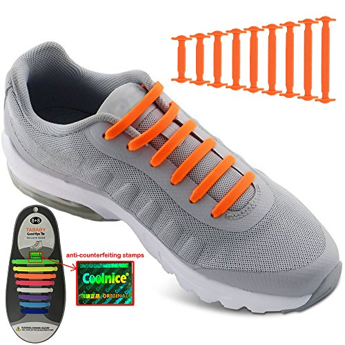 No Tie Shoelaces for Men and Women - Best in Sports Fan Shoelaces – Waterproof Silicon Flat Elastic Athletic Running Shoe Laces with Orange for Sneaker Boots Board Shoes and Casual (Orange)