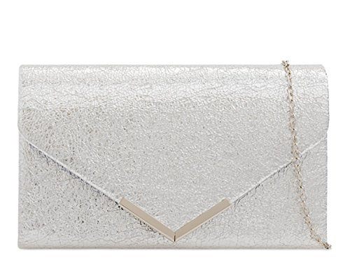 Bags Hand Metallic M38 Evening Womens Foldover Ladies Prom Party Clutch Silver Occasion Dressy qZv48