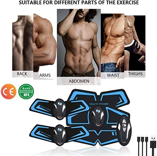 UMATE ABS Stimulator Abdominal Muscle Toner, EMS Abdomen Muscle Trainer Toning Workout Rechargeable for Men Women, Abs Stimulating Belt 3
