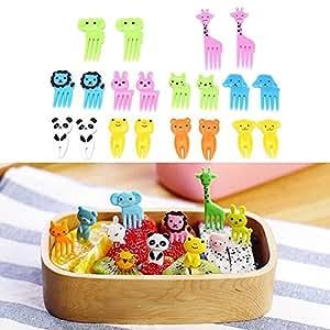 MINILUJIA Children Halloween Picks Fruit Forks Bento Decoration Box Animals Colorful Cupcake Picks Small Flatware Pack of 20