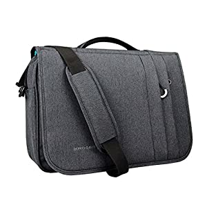 KROSER Briefcase Laptop Messenger Bag 15.6 inch Water-Repellent Light Weight Flapover Computer Case Business Shoulder Briefcase Laptop Bag with RFID Pockets for Business/College/Men/Women - DarkGrey