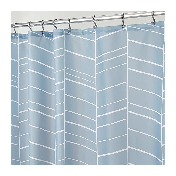 """iDesign Kylie Soft Fabric Shower Curtain - 72"""" x 72"""", Slate Blue - FABRIC SHOWER CURTAIN: High-quality wrinkle resistant 100% polyester fabric gives your shower stall a sleek look. Great for master bathroom, guest bathroom, kid's bathroom, or basement bathroom STYLISH: Slate blue feather pattern is stylish and looks great with any decor REINFORCED BUTTONS: 12 reinforced button-holes are suitable for S hooks, shower rings, and other shower curtain hooks for easy hanging - shower-curtains, bathroom-linens, bathroom - 51B9S3GcJwL. SS570  -"""