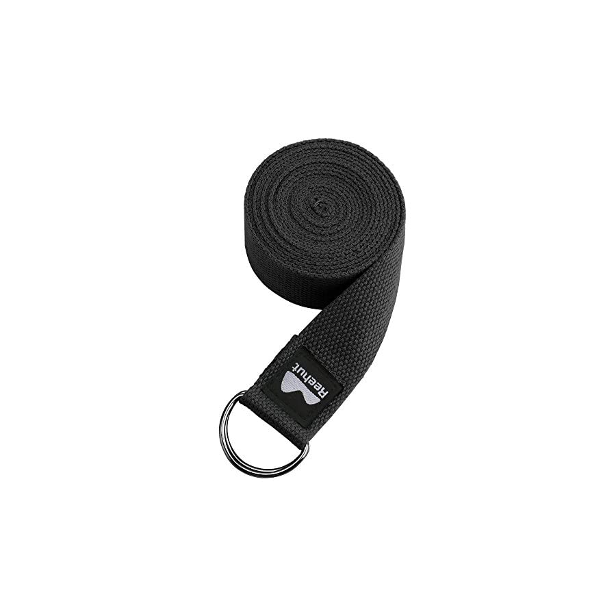 REEHUT Yoga Strap (6ft, 8ft, 10ft) with Ebook Durable Cotton Exercise Straps w/Adjustable D Ring Buckle for Stretching, General Fitness, Flexibility and Physical Therapy