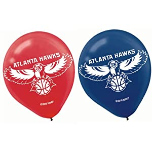 """Sports and Tailgating NBA Party Atlanta Hawks Printed Latex Balloons Decoration, Blue and Red, 12"""", Pack of 6"""