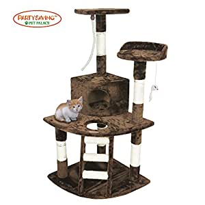 """PET PALACE 47"""" Cat Tree Kitten Activity Tower Condo with Perches, Deluxe Scratching Posts, Rope, and Mouse, APL1355, Brown"""