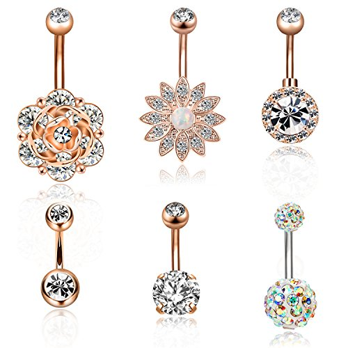 CABBE 6Pcs Belly Button Rings Set for Women 14G Stainless Steel Navel Rings Barbells Body Jewelry (B:6Pcs Rose Goldtone)