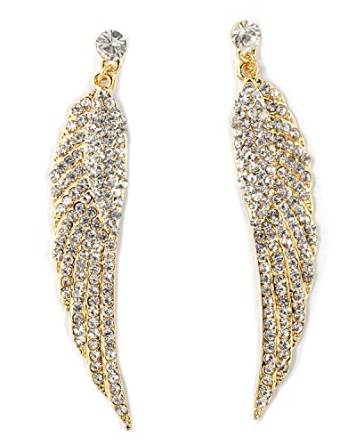 Rhodium Gold Crystal Wing Shape Filled with Rhinestones Dangle Earrings (Crystal Rhinestone Earring Filled Necklaces)