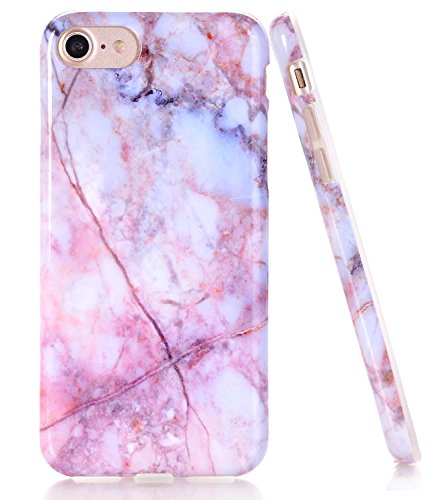 BAISRKE Pink Blue Marble Design Clear Bumper TPU Soft Rubber Silicone Cover Phone Case Compatible with iPhone 7 (2016) / iPhone 8 (2017) [4.7 inch]