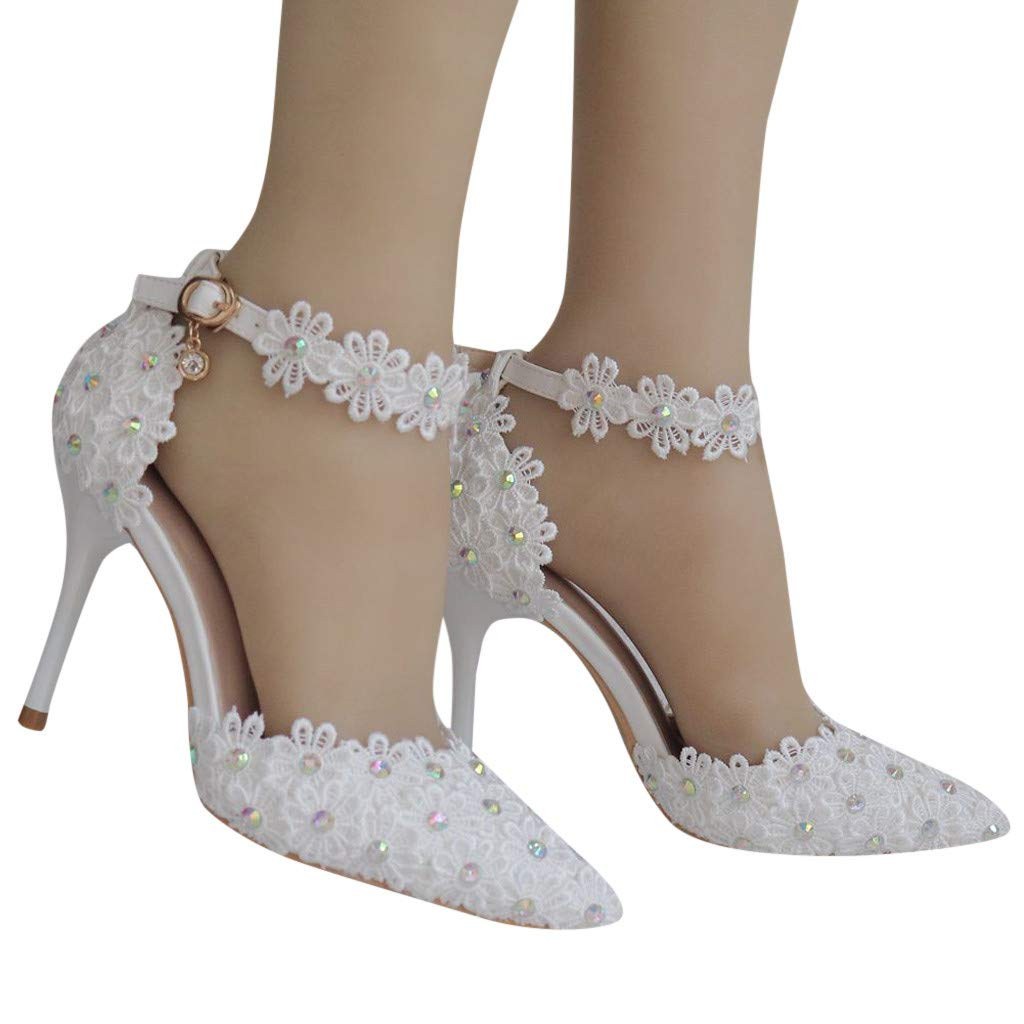 Woman Bridal Shoes Stiletto High Heel Rhinestone Lace Floral Embroidery Lace Satin Pumps Satin Pointed Toe Wedding Shoes (White, 7 .5 M US)