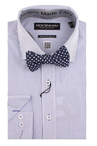 Nick Graham Everywhere Men's Modern Fit Thin Stripe Dress Shirt and Bow Tie - Fit Broadcloth