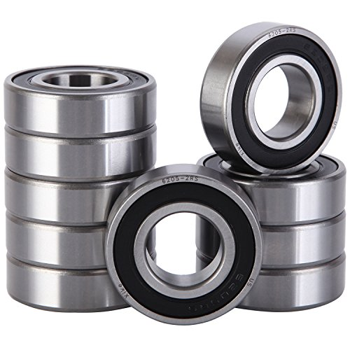 (XiKe 10 Pcs 6205-2RS Double Rubber Seal Bearings 25x52x15mm, Pre-Lubricated and Stable Performance and Cost Effective, Deep Groove Ball Bearings.)