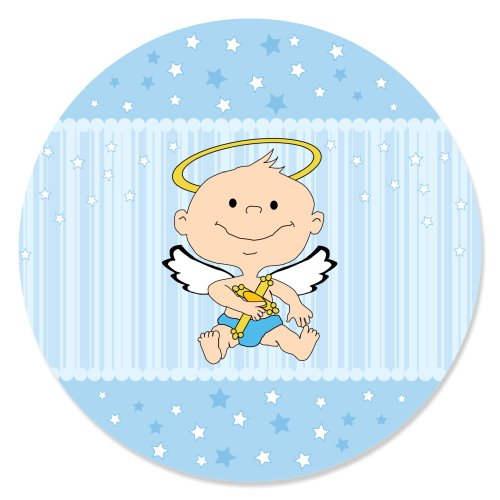 Angel Baby Boy - Baptism Party Circle Sticker Labels - 24 Count