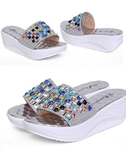 9999 Silver Shoes Flat Sandals Smart Fashion Doris Rhinestone 2 wm Women's Wedges PqwBE