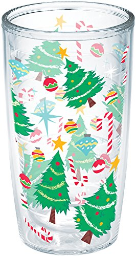 Tervis 1247765 Christmas Tree Candy Cane Insulated Tumbler With Wrap 16 oz Clear