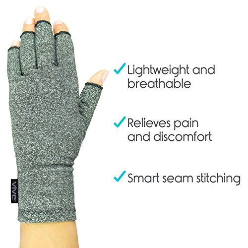 Vive Arthritis Gloves - Compression Glove for Rheumatoid, Osteoarthritis - Heat Hand Gloves for Computer Typing, Arthritic Joint Pain Relief, Carpal Tunnel - Men, Women - Open Finger Thumb (Medium) by VIVE (Image #5)