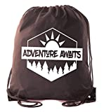 Mato & Hash Camping Drawstring backpack for Birthday parties and Summer Camp - 10PK Brown CA2500Camping S2