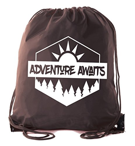 Mato & Hash Camping Drawstring backpack for Birthday parties and Summer Camp - 10PK Brown CA2500Camping S2 by Mato & Hash