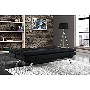 """7"""" Pillow-Top Futon in Black Color, Living Room Furniture, Black Microfiber, Foldable Seating Cushions, Multi-position Back, Solid Wood Frame Construction, Bundle with Expert Guide for Better Life"""