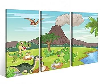 Leinwandbild Kinderzimmer   Amazon De Leinwandbild 3 Tlg Kinderzimmer Dino Vulkan Cartoon