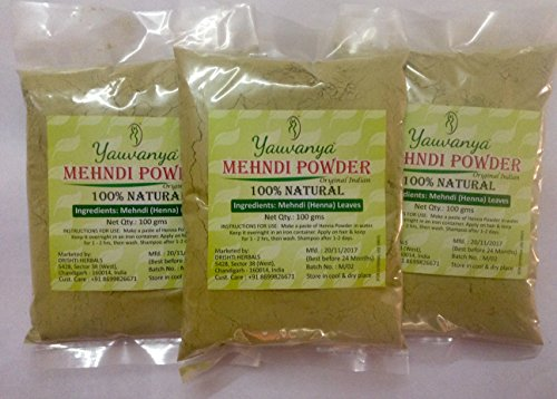 Yauvanya Original Indian Pure and Natural Henna (Mehndi) for Hair - 300 gms (3 Packets of 100 gms each) by Yauvanya