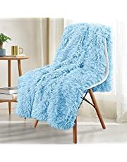 Noahas Shaggy Longfur Throw Blanket with Sherpa Warm Underside, Super Soft Cozy Large Plush Fuzzy Faux Fur Blanket, Lightweight and Washable Kids Girls Room Decorative Blanket