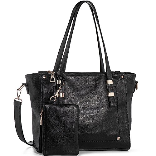 WISHESGEM Women Fashion Handbags Top-Handle Shoulder Bags PU Leather Tote Bags Crossbody Purse Black