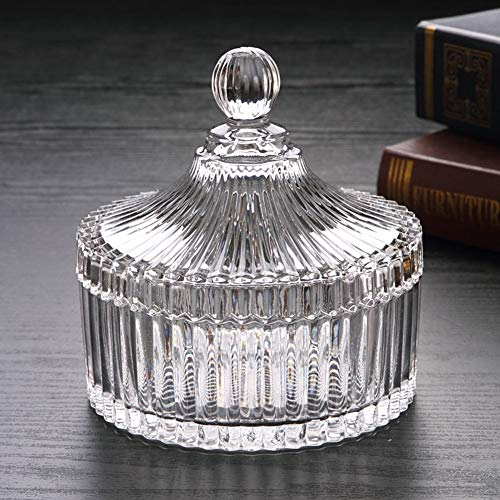 Glass Candy Jar with Lid - Crystal Candy Dish Bowl Ideal For Home, Office and Party - Small Candy Bowl