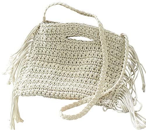 Beach Bag Tote Braided Handbag Women String Bag Summer Hobo Bag Travel Bag (Ivory 12 x 10.2in(LxH))
