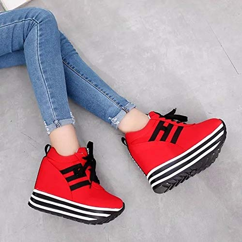 Toe ZHZNVX Comfort Primavera de Mujer Tela Round Black Creepers Otoño Red Red Sneakers Zapatos qFqrvS