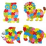 4 PCS Alphabet Jigsaw Puzzle Building Blocks Animal Wooden Puzzle,Wooden Owl, Elephant, Lion, Fish Letters Block Toys for Children's Toys