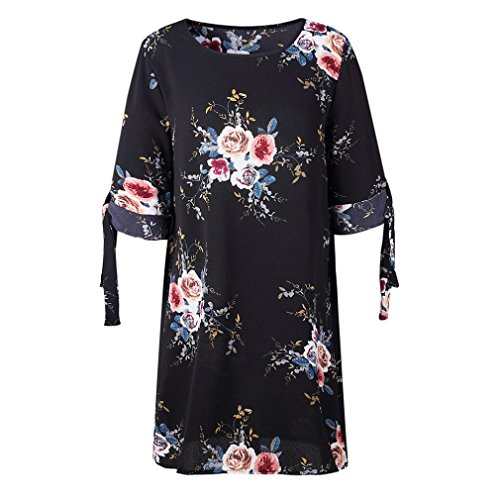 Floral Beikoard de Robes de Bowknot Imprim Robe Jupe Noir Dcontracte Femme Mini Robe Robe de a Robe Manches t t Cocktail Cocktail Robe Vetement Soire Robe d07rd