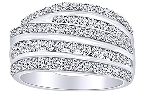 - Round Shape White Natural Diamond Five Row Anniversary Wedding Band Ring in 14k Solid White Gold (2 Cttw) Ring Size-8