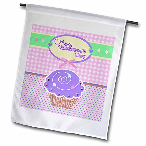 3dRose fl_173151_1 Valentine Purple Cupcake with Candies on Peach Gingham and Tiny Hearts Garden Flag, 12 by 18-Inch