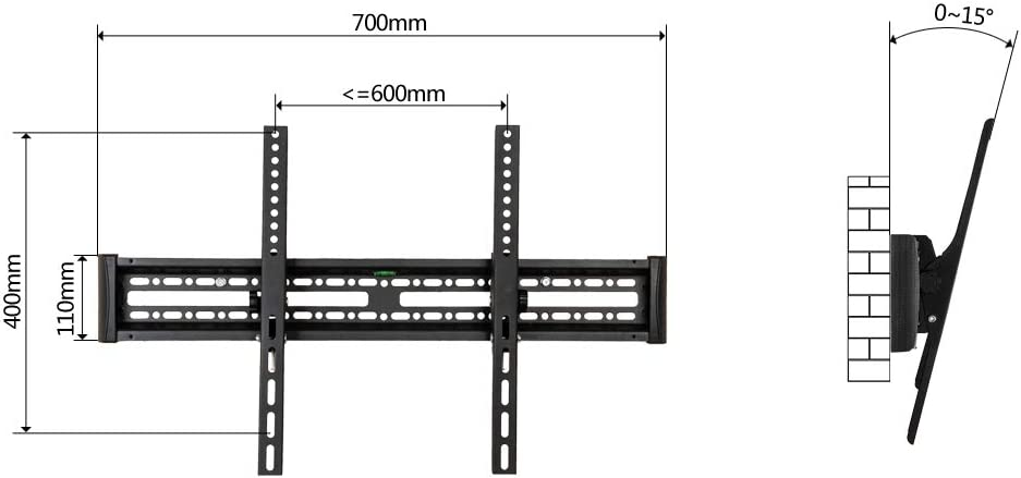 Sulida Universal TV Stand TV Wall Mount Tabletop TV Stand Base for Most 32-65 TVs Height Adjustable