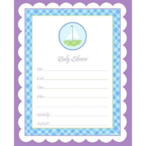 er Party Blue Gingham Scalloped Border Invitations Set (40 Piece), Multicolor, 6 1/4