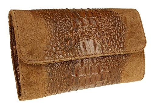Italian Girly Clutch HandBags Leather Croc Bag Brown Suede Dark wdqPrXtq