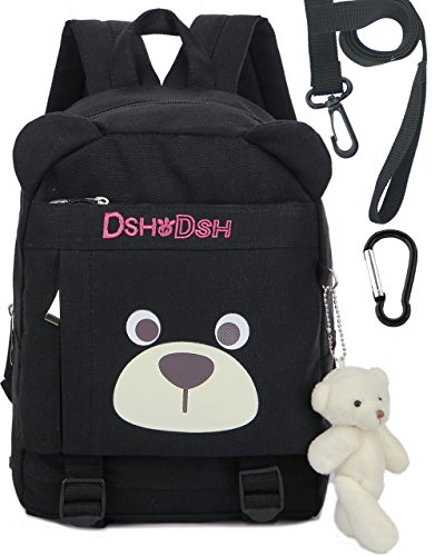 Toddler Kids Cotton Backpack with Anti Lost Leash Bear Kindergarten Boy(Black)