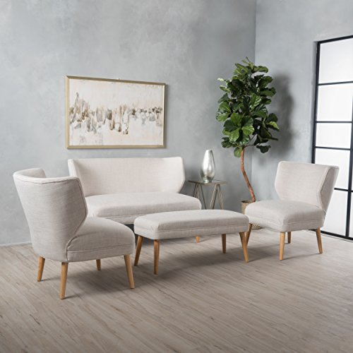 Scilla Fabric Living Room Sofa Set (Beige)